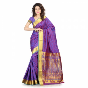 7 Colors Lifestyle Multi Coloured Pure Polyster Jacquard Embroidered Saree SR8110RBRDJD4