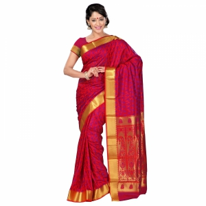 7 Colors Lifestyle Multi Coloured Pure Polyster Jacquard Embroidered Saree SR8110RDVJD4