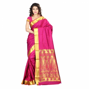7 Colors Lifestyle Multi Coloured Pure Polyster Jacquard Embroidered Saree SR8110RNVJD4