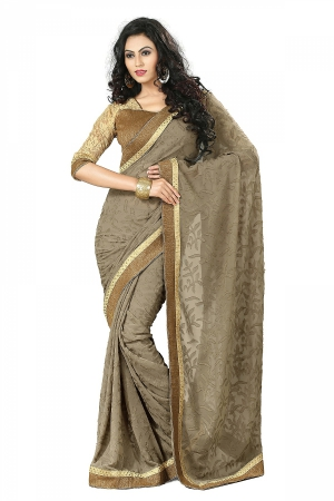 A G Lifestyle Olive Faux Georgette Saree With Unstitched Blouse DVY4001