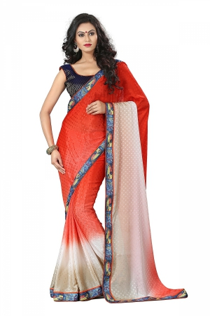 A G Lifestyle Red Chiffon Saree With Unstitched Blouse DVY4009