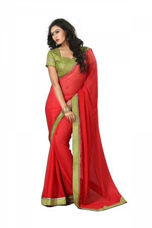 A G Lifestyle Red Chiffon Saree With Unstitched Blouse DVY4012
