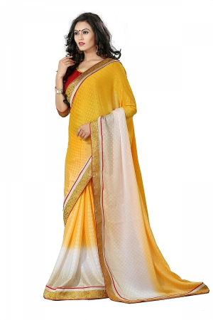 A G Lifestyle Yellow jacquard Saree With Unstitched Blouse DVY4015