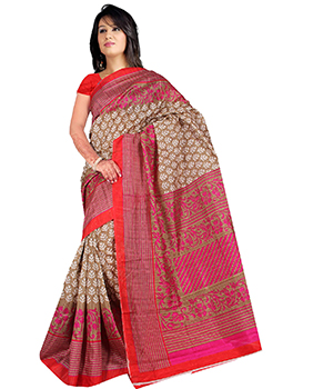 A G Lifestyle Beige And Pink Bhagalpuri Silk Saree With Unstitched Blouse AGB11001