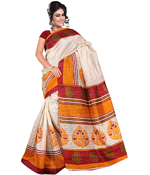 A G Lifestyle Beige Bhagalpuri Silk Saree With Unstitched Blouse AGB11005