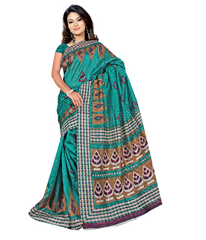 A G Lifestyle Sea Green Bhagalpuri Silk Saree With Unstitched Blouse AGB11015