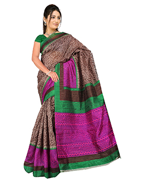 A G Lifestyle Brown Bhagalpuri Silk Saree With Unstitched Blouse AGB11016