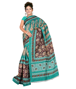A G Lifestyle Sea Green Bhagalpuri Silk Saree With Unstitched Blouse AGB11021