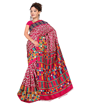 A G Lifestyle Pink Bhagalpuri Silk Saree With Unstitched Blouse AGB11025