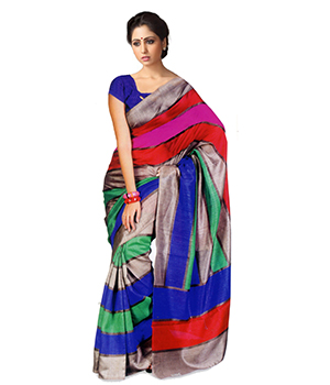 A G Lifestyle Multi Bhagalpuri Silk Saree With Unstitched Blouse AGB11029