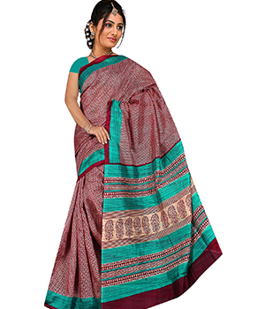 A G Lifestyle Maroon And Sea Green Bhagalpuri Silk Saree With Unstitched Blouse AGB5189