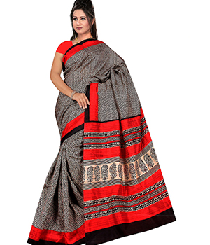 A G Lifestyle Black And Red Bhagalpuri Silk Saree With Unstitched Blouse AGB5190