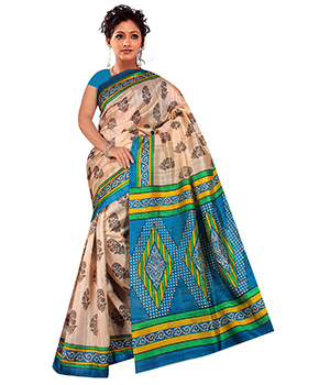 A G Lifestyle Beige And Light Blue Bhagalpuri Silk Saree With Unstitched Blouse AGB5194