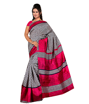 A G Lifestyle Pink Bhagalpuri Silk Saree With Unstitched Blouse AGB5197