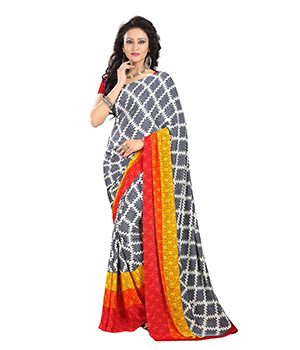 A G Lifestyle Multi Crepe Saree with Unstitched Blouse AGC301