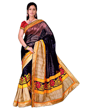 A G Lifestyle Multi Art Silk Saree With Unstitched Blouse ARD03