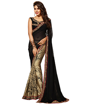 A G Lifestyle Black Crepe And Chiffon Saree With Unstitched Blouse ASL903