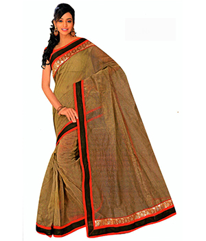 A G Lifestyle Olive Super Net Saree With Unstitched Blouse BLS313