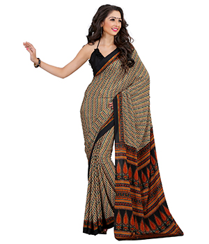 A G Lifestyle Multi Luster Crepe Saree with Unstitched Blouse CRD281B