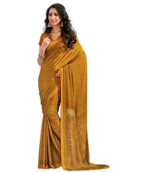 A G Lifestyle Yellow Luster Crepe Saree with Unstitched Blouse CRD283A