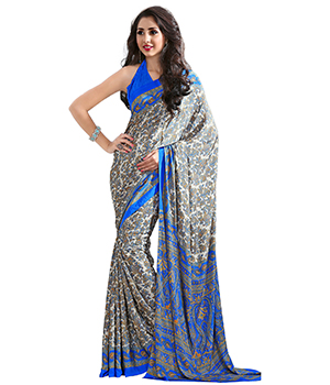 A G Lifestyle Off White Luster Crepe Saree with Unstitched Blouse CRD285B