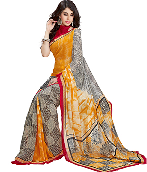 A G Lifestyle Multi Faux Georgette Saree With Unstitched Blouse FSN313A