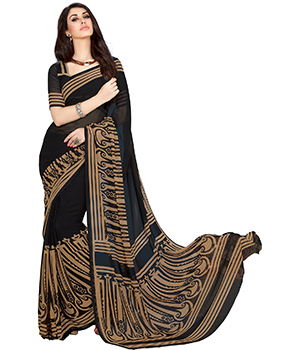 A G Lifestyle Black Faux Georgette Saree With Unstitched Blouse FSN315C