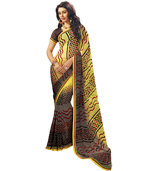 A G Lifestyle Yellow And Brown Faux Georgette Saree With Unstitched Blouse FTM2089