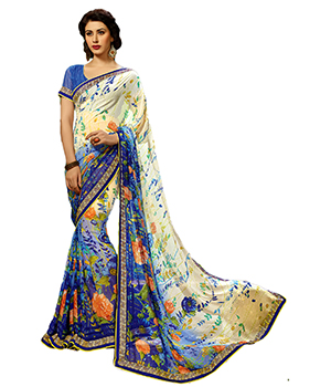 A G Lifestyle Off White And Blue Faux Georgette Saree With Unstitched Blouse FTM2095