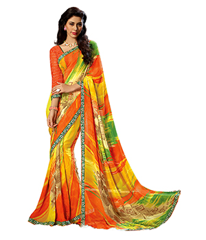 A G Lifestyle Multi Faux Georgette Saree With Unstitched Blouse FTM2103