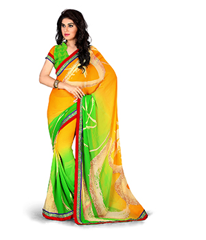 A G Lifestyle Faux Georgette Yellow And Green Saree with Unstitched Blouse GLM5002B