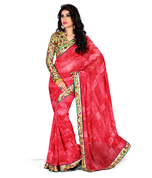 A G Lifestyle Chiffon Pink Saree with Unstitched Blouse GLM5006A