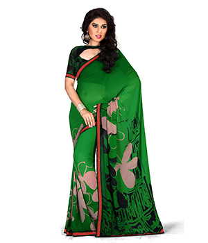 A G Lifestyle Faux Georgette Green Saree with Unstitched Blouse GLM5010A