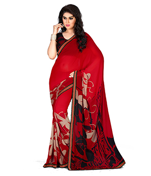 A G Lifestyle Faux Georgette Red Saree with Unstitched Blouse GLM5010B