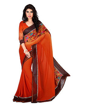A G Lifestyle Brasso Orange Saree with Unstitched Blouse GLM5011B