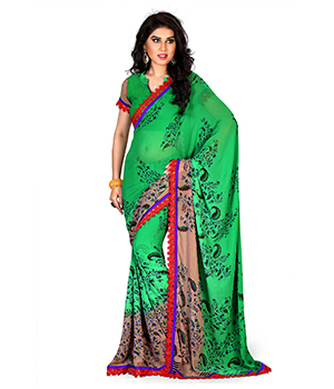 A G Lifestyle Faux Georgette Green Saree with Unstitched Blouse GLM5012B