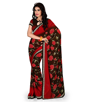 A G Lifestyle Faux Georgette Brown And Red Saree with Unstitched Blouse GLM5014A