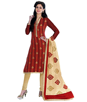 A G Lifestyle Orange Banarsi Chanderi Jacquared Dress Material with Dupatta LBS1027
