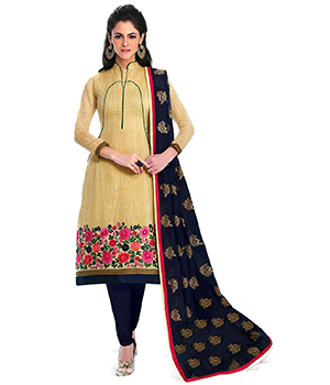 A G Lifestyle Beige Banarsi Chanderi Jacquared Dress Material with Dupatta LBS1030