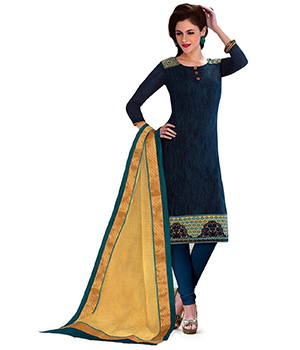 A G Lifestyle Blue Banarsi Chanderi Jacquared Dress Material with Dupatta LBS1032