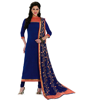 A G Lifestyle Blue Banarsi Chanderi Jacquared Dress Material with Dupatta LBS1033