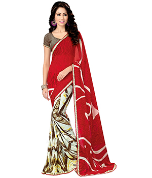 A G Lifestyle Red Saree With Unstitched Blouse MYR1010