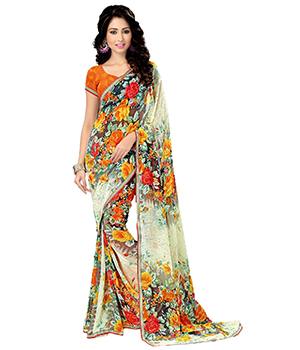 A G Lifestyle Off White Saree With Unstitched Blouse MYR1018
