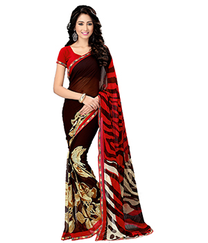 A G Lifestyle Brown And Red Saree With Unstitched Blouse MYR1019