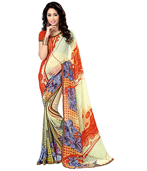 A G Lifestyle Off White Saree With Unstitched Blouse MYR1020