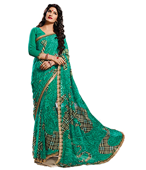 A G Lifestyle Sea Green Faux Georgette Saree With Unstitched Blouse SDA2046