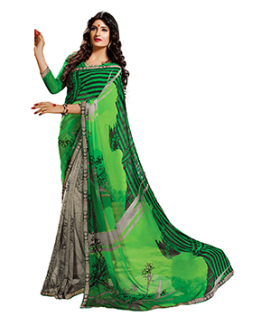 A G Lifestyle Green Faux Georgette Saree With Unstitched Blouse SDA2058