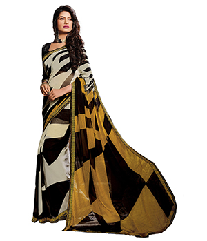 A G Lifestyle Black And Cream Faux Georgette Saree With Unstitched Blouse SDA2062
