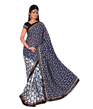 A G Lifestyle Grey Cotton Jacquard And Brasso Pallu Saree With Unstitched Blouse VHNY19
