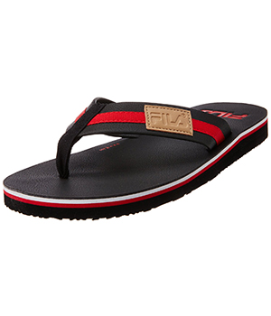 Fila Mens Stride Lite Black and Red Rubber Flip Flops Sandals